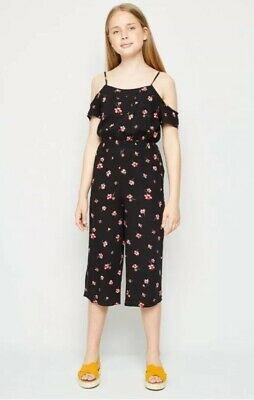 New Look - 915 Girls Black Floral Cold Shoulder Jumpsuit - Age 12 Years - BNWT