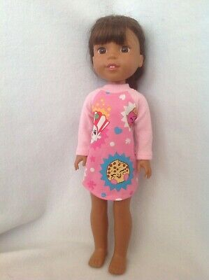 14.5 in Doll Clothes Pink Dotted Raincoat Boots T-Shirt Pants fits Wellie Wisher
