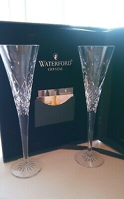 Waterford Crystal Wishes Happy Celebrations 2 Toasting Flutes & Box SOLD OUT EUC