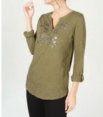 Style & Co Womens Olive Green Flower-Embellished  Top Sz L $44.5 {&}