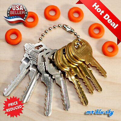 Key Set of 8 with 6 Rubber Rings, lockout, locksmith