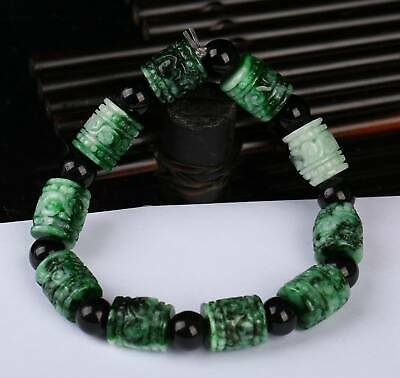 Certified Green Natural Grade A JADE Jadeite Bead Bangle Bracelet  r25592261