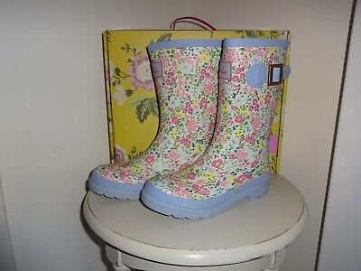 Joules Cream Ditsy Floral Wellies. Boots. Size Uk 12 New In  Box