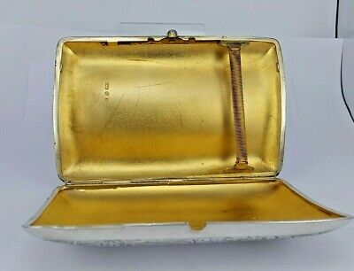 1895 Victorian luxury heavy ornate Solid silver cigar case gold lined interior