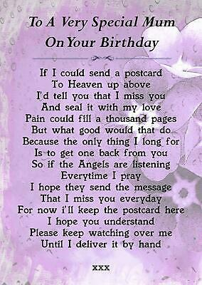 Mum On Your Birthday Memorial Graveside Poem Card With Free Ground Stake F223
