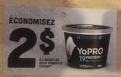 Lot of 20 x 2.00$ SKYR YoPRO Products Coupons Canada