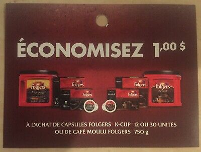 Lot of 20 x 1.00$ Folgers Products Coupons Canada