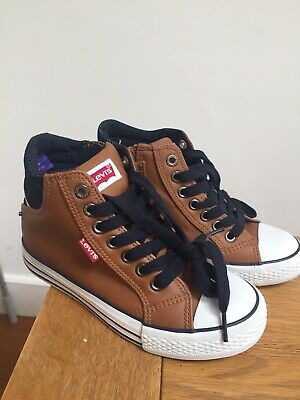 •Levi's Kids Trainers Shoes Brown Sneakers Size 1 Euro 33 New