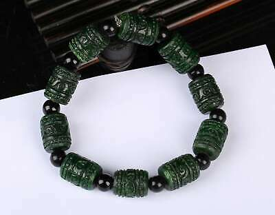 Certified Green Natural Grade A JADE Jadeite Bead Bangle Bracelet  r256342