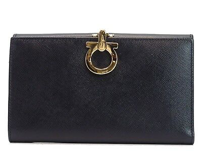 Auth Salvatore Ferragamo Long Wallet Purse Italy Black Leather 18588731