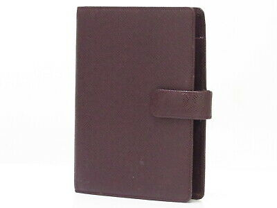 Auth LOUIS VUITTON Taiga Leather Agenda MM Note Book Cover R20413 18607218