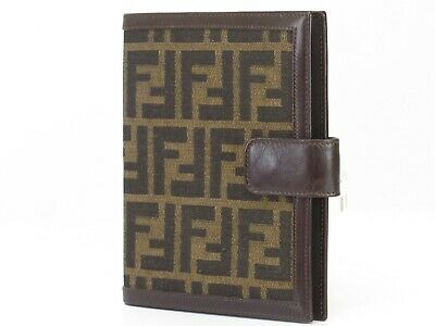 Auth FENDI Zucca Canvas Note/Agenda Cover Leather Italy 18596450