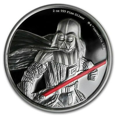 DARTH VADER (2017) 2oz High Relief Pure Silver STAR WARS Proof Coin-Disney/Perth