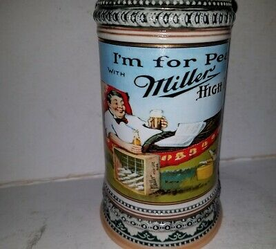 "Miller High Life "" I'm for Peace with Miller High Life "" Beer Stein FREE SHIPPIN"