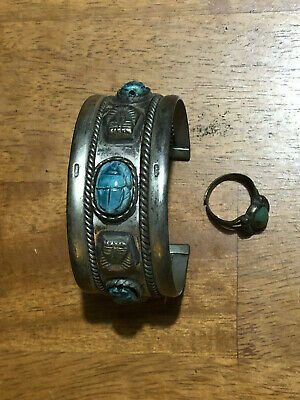 Antique Rare Ancient Egyptian Turquoise Scarab Pharaoh Silver-tone Cuff Bracelet