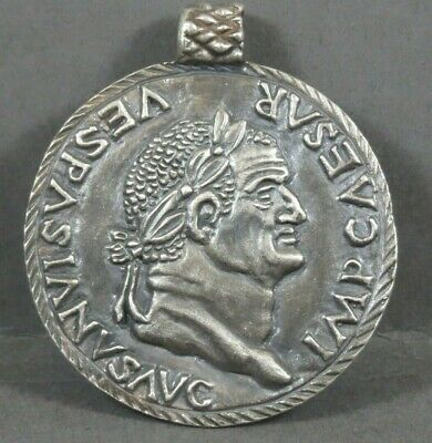 Extremely Rare Ancient Roman Huge Silver Amulet Depiction Of Emperor Vespasian
