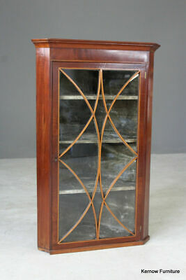 Antique Inlaid Mahogany Astragal Glazed Corner Wall Hanging Cabinet Kitchen