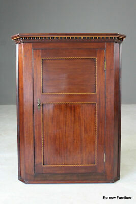Antique Mahogany Hanging Corner Wall Cupboard Bathroom Dining Kitchen
