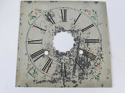 Antique Hand Painted Clock Face Dial Old Tin Salvage Beautiful Piece Floral