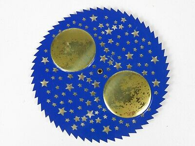 Vintage Brass Clock Face Dial Backing Saw Tooth Edge Moon Stars Pierced