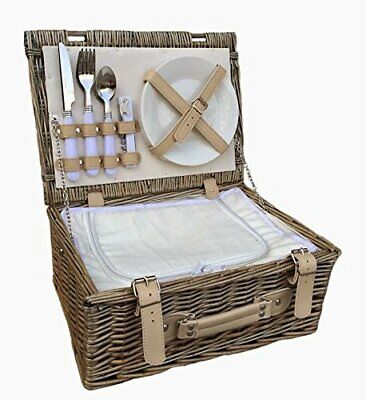 Red Hamper FH055C 2 Person Fitted Picnic Basket with Chiller, Brown, 26 x 36 x 1