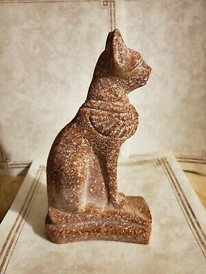 "Egyptian Stone or Soap Stone Ancient Cat BASTET Figurine 7"" tall"