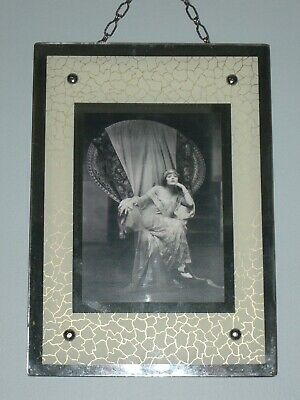Art Deco Picture Frame with Mirrored & Reverse Painted Glass and Hanging Chain