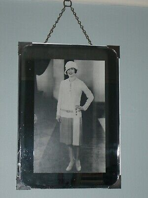 Art Deco Picture Frame with Mirrored Glass, Metal Corners and Hanging Chain