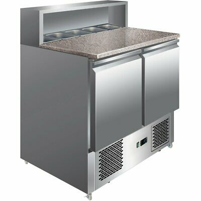 Pizza Prep counter fridge with 2 doors Granite top  5xGN1/6    Free UK delivery