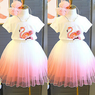 Girl Kid Flamingo T-Shirt +A-Line Tulle Skirt 2Pcs Outfit Set Party Summer Dress