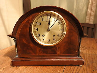 BRAVINGTONS 14 Day Striking Mantel Clock THE RENOWN Inlaid Case Spares or repair