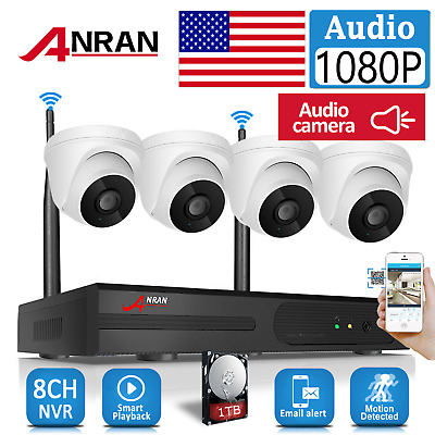ANRAN 1080P Security Camera System Outdoor 1TB Hard Drive 4CH Outdoor Home Wired