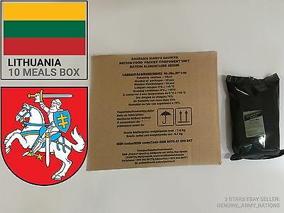 Lithuanian Army Ration Pack FULL BOX OF 10. Military meals ready to eat (MRE)