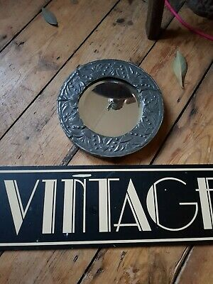 ANTIQUE ARTS and crafts pewter circular bevelled edge mirror