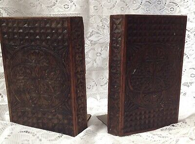Antique 1900 Solid Oak Hand Carved Bookends With Brass Plate Supports.