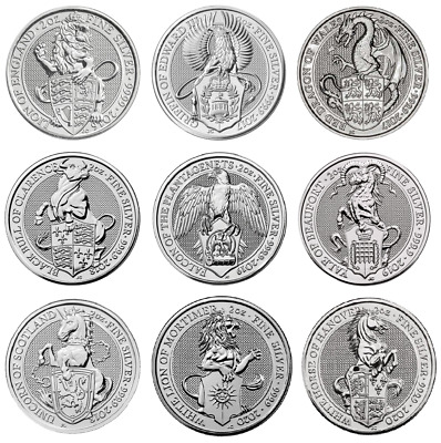 Queens Beasts 2oz Silver coins Lion Griffin Dragon Unicorn Bull Yale Falcon coin