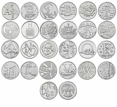 A-Z  Alphabet 10p coin Ten Pence 2018 Coins Angel Bond Fish NHS Oak Robin Tea