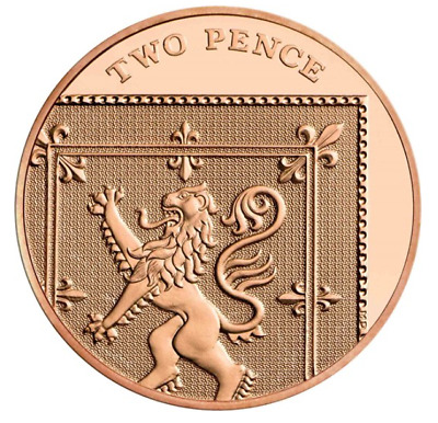 2015 2016 2017 2018 2019 2020 2p coin Two pence penny Shield Royal Mint BUNC