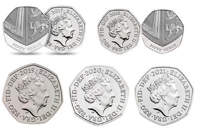 2017 2018 2019 or 2020 50p coin Royal Shield Fifty pence  Brilliant Uncirculated