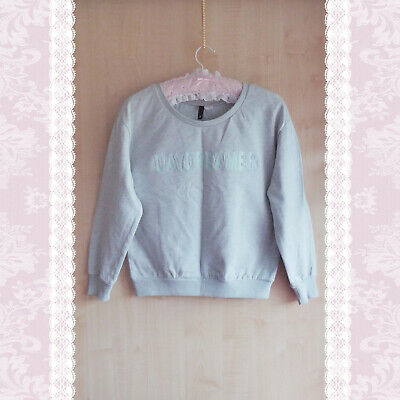 H&M Hm Daydreamer Sweater S 10 Baby Blue Pastel Pale Grey Top Aesthetic Cropped