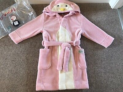 Joules Girls Dressing Gown Robe Pink Penguin Age 5-6 - Immaculate Condition