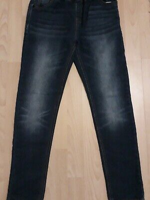 Next Boys Blue Distressed Look Skinny Jeans,  Elasticated Waist Age 13Yrs