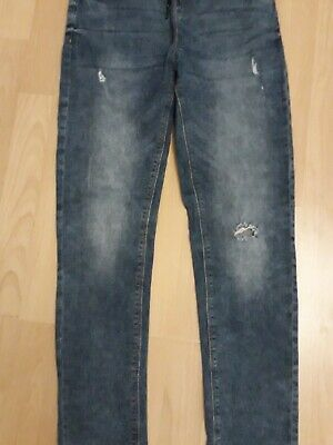 Next Boys Blue Distressed ripped Skinny Jeans,  Elasticated Waist Age 12Yrs