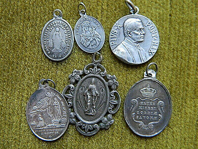 Lot Of 6 Sterling Silver Medals St Philomena Lourdes Virgin Mary Pope Pius X