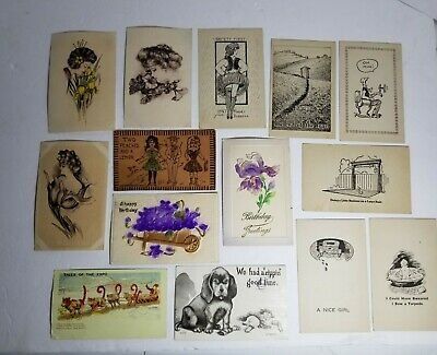 Vintage Post Cards Postcard Lot Early 1900's Post Marked Stamped Leather