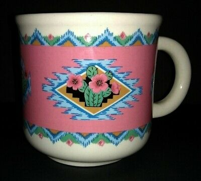 Cactus Pink Blue Aztec Southwest Design Coffee Mug Tabletops Unlimited