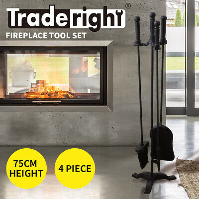 4 Pieces Fireplace Tool Set Fire Place Tools Poker Poke Brush Shovel Stand Tongs