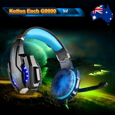 3.5mm Gaming Headset G9000 MIC LED Headphones f/ PS4 Xbox One Laptop Mac Blue vr