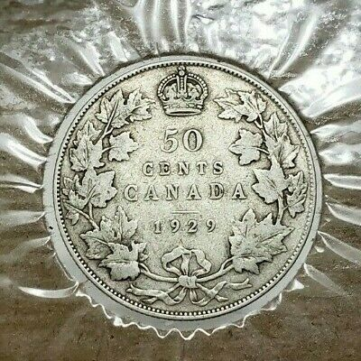 💥 🇨🇦 Canada 1929 50 Fifty cents Half Dollar SILVER COIN KING GEORGE V