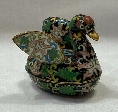 "Cloisonné 3"" Black Swan Trinket Pill Box"